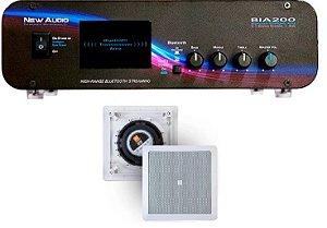 Amplificador New Áudio BIA 200 BT 2.1 Estéreo + 1 Par de Caixa Gesso JBL