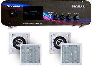 Amplificador New Áudio BIA 200 BT 2.1 Estéreo + 4 Caixas Gesso JBL