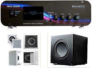 Amplificador New Áudio BIA 200 BT 2.1 Estéreo + Sub 200FD + 4 Caixas  Gesso JBL
