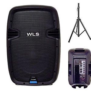 Caixa Acústica WLS  J10 PRO Ativa + Pedestal ST002 1,80m
