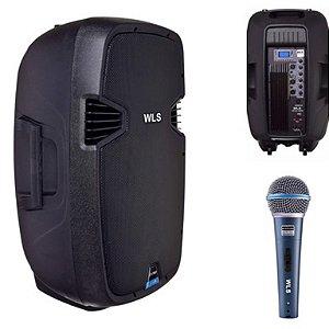 Caixa Acústica WLS  J15 PRO Ativa + Microfone M58A