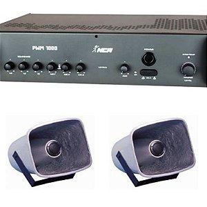 Corneta Balde Fibrasom G 086 ( 2 pç ) + Amplificador PWM1000 LL Audio