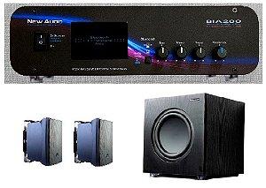 Amplificador New Áudio BIA 200 BT 2.1 Estéreo + Sub 200FD + 2 Cxs JBL C321P