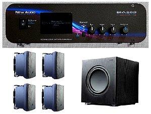 Amplificador New Áudio BIA 200 BT 2.1 Estéreo + Sub 200FD + 4 Cxs JBL C321P