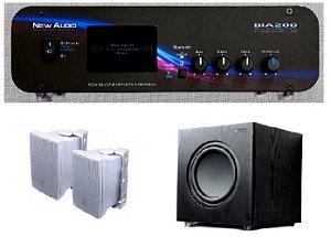 Amplificador New Áudio BIA 200 BT 2.1 Estéreo + Sub 200FD + 2 Cxs JBL C321B