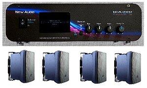 Amplificador New Áudio BIA 200 BT 2.1 Estéreo + 4 Cxs JBL C321P