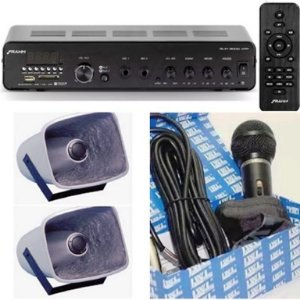 Amplificador Frahm Slim 3000 + 2 Corneta Balde G086 + Microfone + Gongo