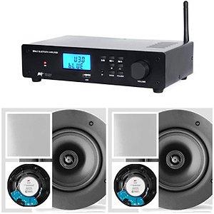 Amplificador AAT BTA-2 BT + 2 Caixas Gesso NQ6 M-100 Quadrada