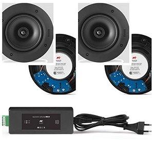 Amplificador AAT BTA-1 Bluetooth  60W RMS + 4 Caixas AAT Gesso NQ6 100