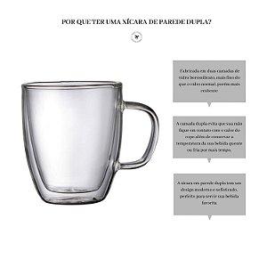 XÍCARA COPO DE CAFÉ PAREDE DUPLA 350ml CONJUNTO COM 2 UNIDADES