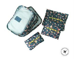 Necessaire Kit Organizador Para Mala de Viagem 6 Peças