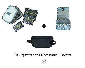 Kit Organizador + Necessaire Maquiagem + Doleira