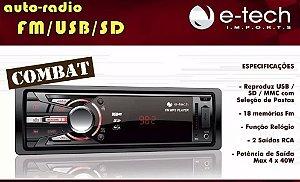 Aparelho Radio Mp3 Automotivo E-tech Combat Usb Sd Aux