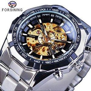 Relógio de pulso fundo Dourado Masculino Esqueleton Automático Luxuoso