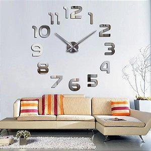 Relógio de parede modelo 3D Número cor Prata espelhado acrílico
