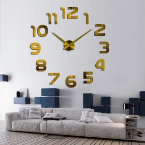 Relógio de parede modelo 3D Número cor Dourado espelhado acrílico