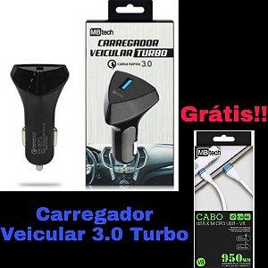 Carregador Veicular turbo 3.0 MBtech