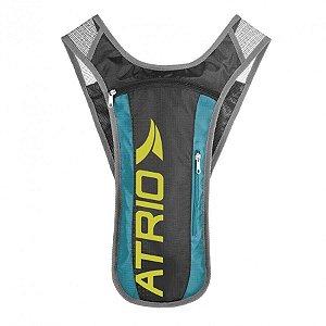 Mochila Hidratação Sprint Alças Ajustáveis em Poliéster e PVC Cinza/Azul Atrio 1,5L BI052