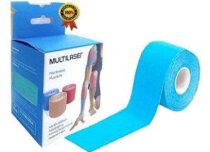 Fita Kinesio Multilaser Muscle Fix 5x25 cm Pré Cortada Azul HC138