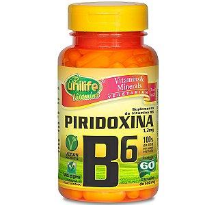 Vitamina B6 piridoxina 60 capsulas  500mg - Unilife