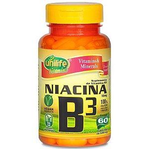 Vitamina B3 niacina 60 capsulas  500 mg - Unilife