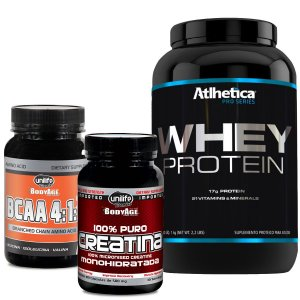 Kit 1 Whey Pro Series 1kg Chocolate  - 1Bcaa - 1Creatina