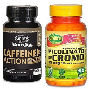 Kit 1 Caffeine Action 60 Capsulas + Picolinato de Cromo 35Mcg 60 Capsulas