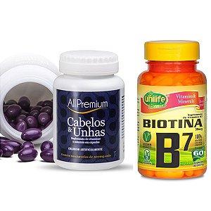 Kit Cresce cabelo - Cabelos e Unhas All Premium + Biotina