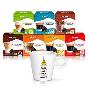 kit 4 Cx's de Lácteos + 3 Cx's de Cafés + 1 Xícara Personalizada