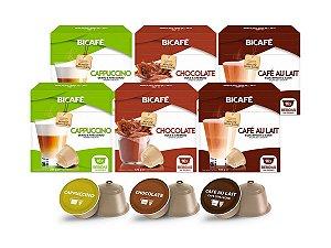 Kit 96 Cápsulas Para Máquinas Dolce Gusto* Cappuccino Chocolate Café com Leite