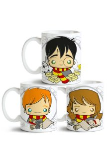 Conjunto de Canecas Harry Potter - Harry, Roni e Hermione