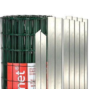 Tela Soldada revestida com pvc verde (kit), Postes e Acessórios - 25m