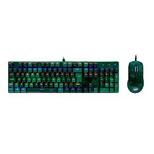 Kit Redragon Mouse e Teclado Mecânico Dark Green S108