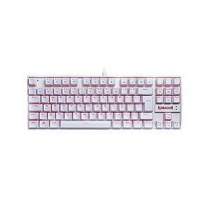 Teclado Redragon Mecânico Gamer Kumara Lunar White K552W-2 Switch Red LED Vermelho