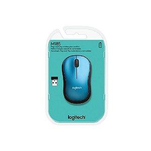 Mouse sem fio Logitech M185 - Azul