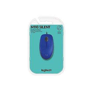 Mouse com fio USB Logitech M110 - Azul