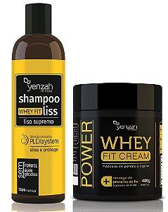 Kit Yenzah Alisa e Trata - Yenzah Shampoo Alisante Whey Fit Liss + Yenzah Máscara Whey Fit Cream