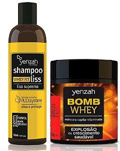 Kit Yenzah Alisa e Cresce -  Yenzah Shampoo Alisante Whey Fit Liss + Yenzah Máscara Bomb Whey