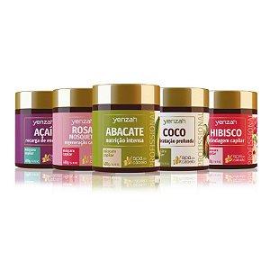 Yenzah Família SPA do Cabelo - Máscaras Abacate, Coco, Hibisco, Rosa Mosqueta e Açaí