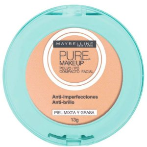 Pó Compacto Natural - Maybelline Pure Makeup Bege Claro -  13g