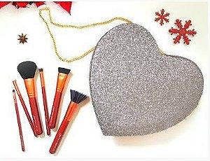 kit 6 pincéis Heart In Luv - glitter prata - Luv Beauty
