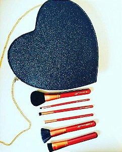 kit 6 pincéis Heart In Luv - glitter preto - Luv Beauty