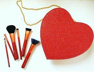 kit 6 pincéis Heart In Luv - glitter vermelho -  Luv Beauty