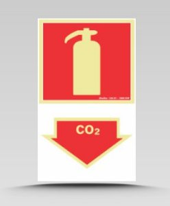 PLACA 20X30 EXTINTOR CO2 FOTOLUMINESCENTE