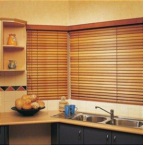 Persiana Horizontal Madeira 50 mm Bamboo com Fita Largura 1,60 x 1,40 Altura Tabaco