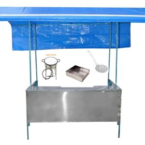 Barraca de Pastel 1,50 x 1,00 Aço Inox com Acessórios