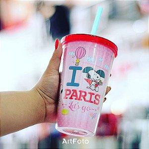 Copo com canudo Snoopy I love Paris