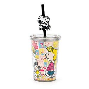 Copo com canudo Snoopy mini com pingente