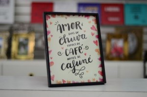 Quadro mensagem Amor e Café