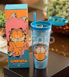 Copo pote com canudo Garfield